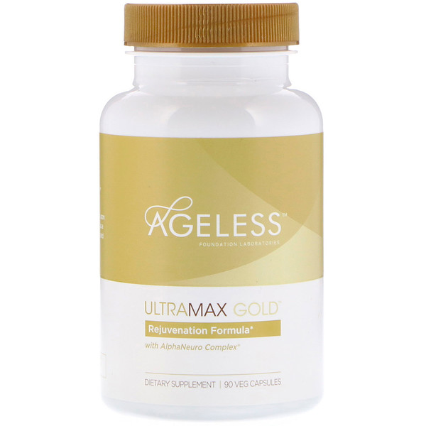 Ageless Foundation Laboratories, 含有AlphaNeuro复合物的UltraMax Gold胶囊,90粒素食胶囊