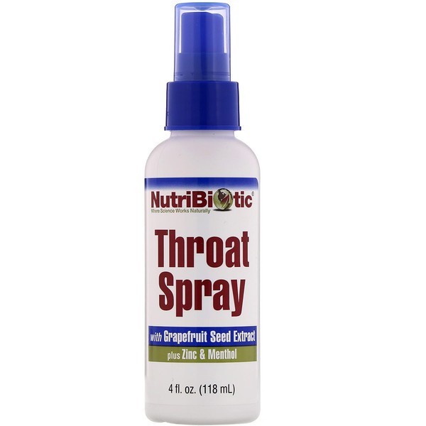 NutriBiotic, Throat Spray with Grapefruit Seed Extract plus Zinc & Menthol, 4 fl oz (118 ml)