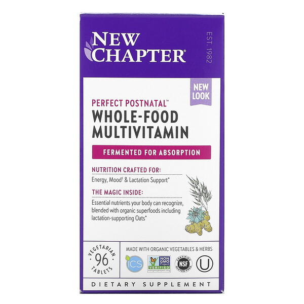 Perfect Postnatal, Whole-Food Multivitamin, 96 Vegetarian Tablets