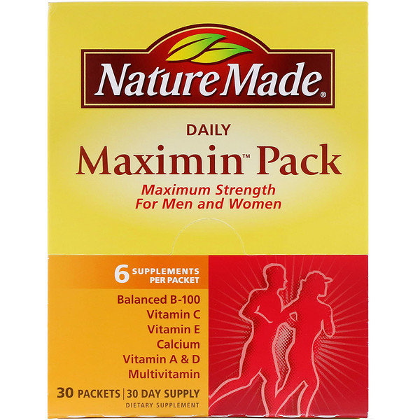 Nature Made, Daily Maximin Pack, 多种维生素和矿物质补充剂, 每包6克补充剂, 30 包