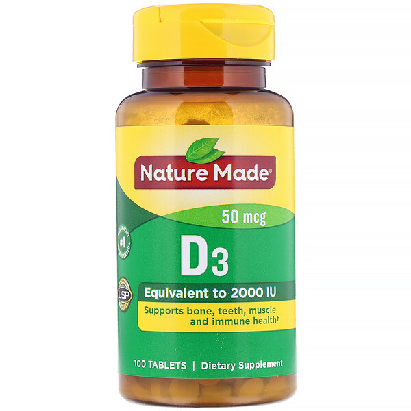 Nature Made, Vitamin D3, 50 mcg, 100 Tablets