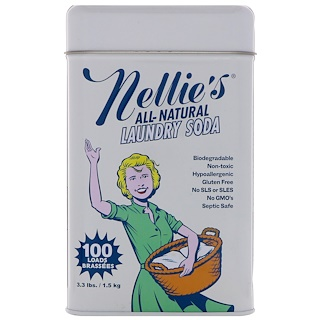 Nellie's All-Natural, 洗衣纯碱,100筒量,3.3磅(1.5千克)