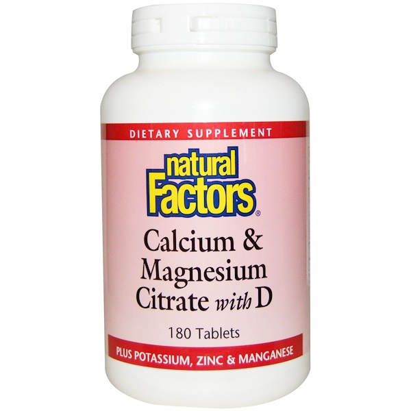 Calcium & Magnesium Citrate with D, 180 Tablets
