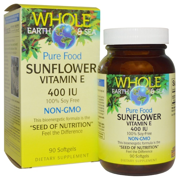 Natural Factors, Whole Earth & Sea,向日葵维生素E,400国际单位,90粒软胶囊 (Discontinued Item)
