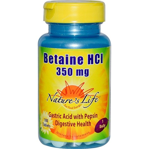 Betaine HCI, 350 mg, 100 Tablets