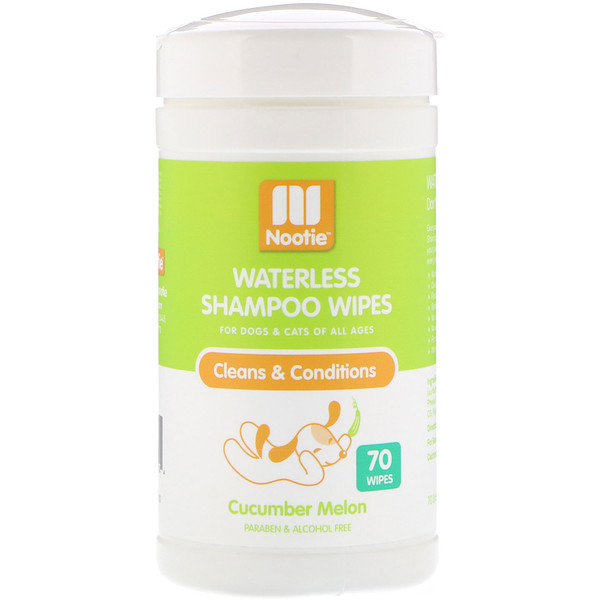 Nootie, Waterless Shampoo Wipes, Cucumber Melon, 70 Wipes (Discontinued Item)