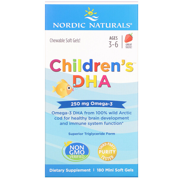 Nordic Naturals, Children's DHA, Ages 3-6, Strawberry, 250 mg, 180 Mini Soft Gels