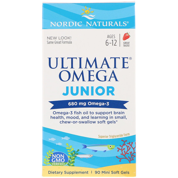 Ultimate Omega Junior,  Ages 6-12, Strawberry, 680 mg, 90 Mini Soft Gels