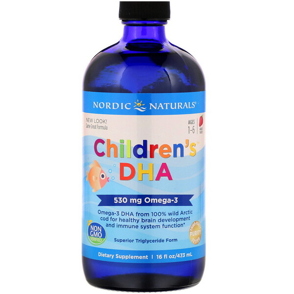 Nordic Naturals, Children's DHA, Ages 1-6, Strawberry, 530 mg, 16 fl oz (473 ml)