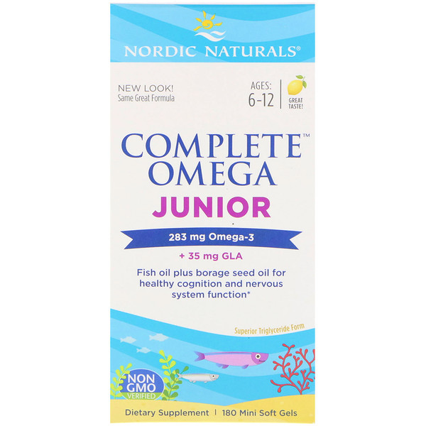 Nordic Naturals, Complete Omega Junior, Lemon, Ages 6-12, 180 Mini Soft Gels
