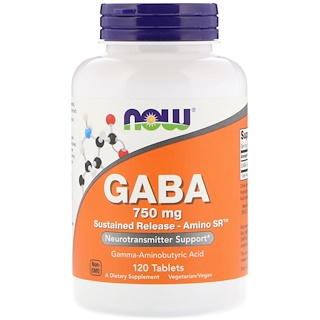 Now Foods, GABA, 750 mg , 120 Tablets