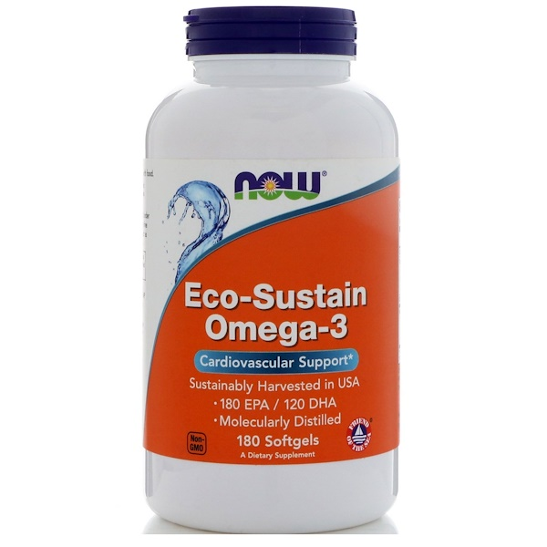 Now Foods, Eco-Sustain Omega-3, 180 Softgels (Discontinued Item)