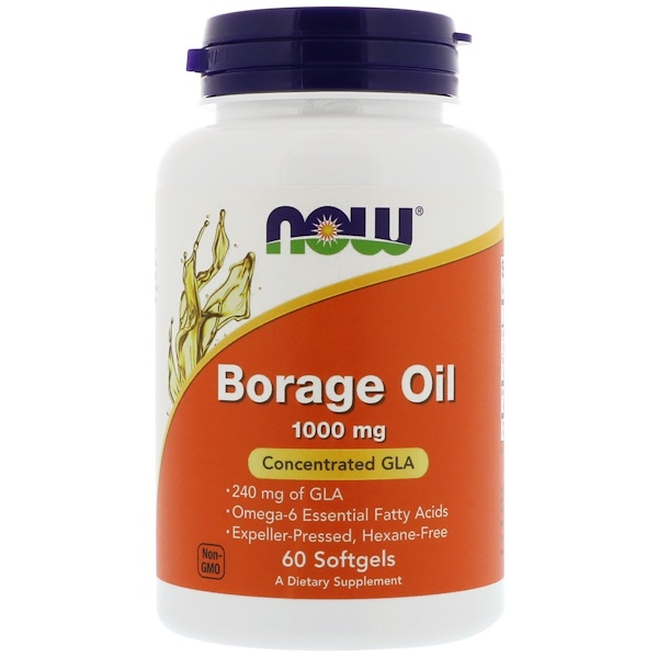Borage Oil, Concentration GLA, 1,000 mg, 60 Softgels