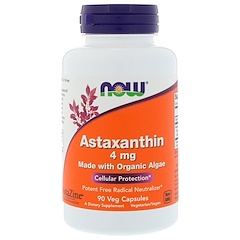Now Foods, Astaxanthin, Made with Organic Algae, 4 mg, 90 Veg Capsules