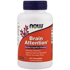 Now Foods, Brain Attention,天然巧克力味,60片咀嚼片