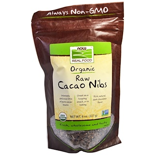 Now Foods, Organic, Raw Cacao Nibs, 0.8 oz (227 g)