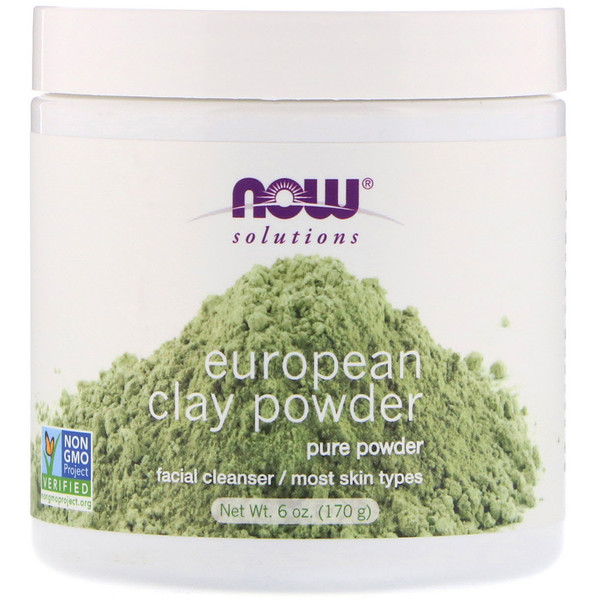 Now Foods, Solutions, European Clay Powder, Facial Cleanser, 6 oz (170 g)