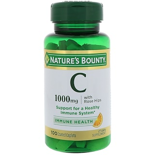 Nature's Bounty, Vitamin C With Rose Hips, 1000 mg, 100 Coated Caplets
