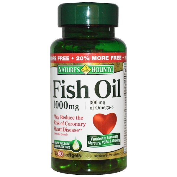 Nature's Bounty, Fish Oil, 1000 mg, 60 Softgels (Discontinued Item)