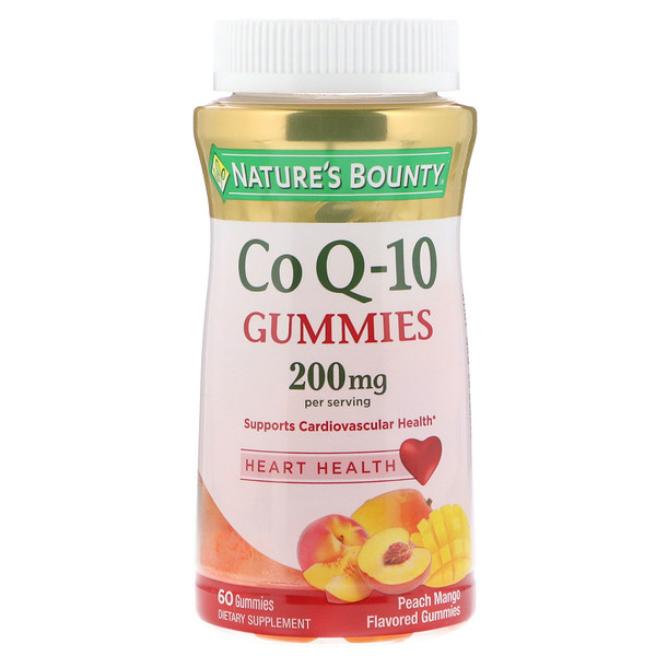 Co Q10 Gummies, Peach Mango Flavored, 200 mg, 60 Gummies