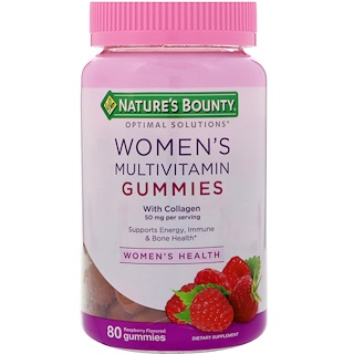 Nature's Bounty, Optimal Solutions, Women's Multivitamin with Collagen, Raspberry Flavored , 80 Gummies