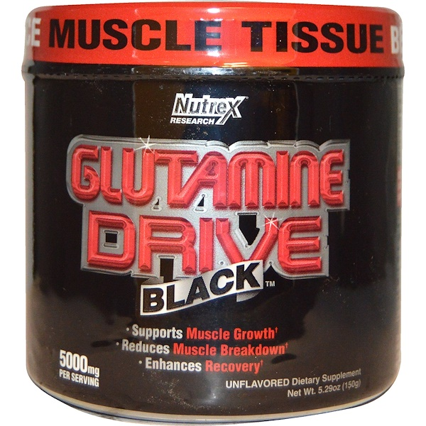 Nutrex Research Labs, Glutamine Drive Black, 无味,5000毫克,5.29盎司(150克)