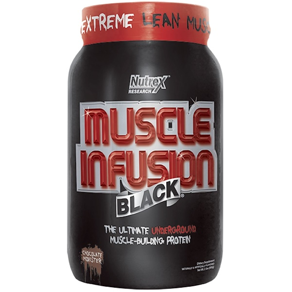 Nutrex Research Labs, Muscle Infusion Black, Muscle-Building Protein, Chocolate Monster, 2 lbs (908 g) (Discontinued Item)