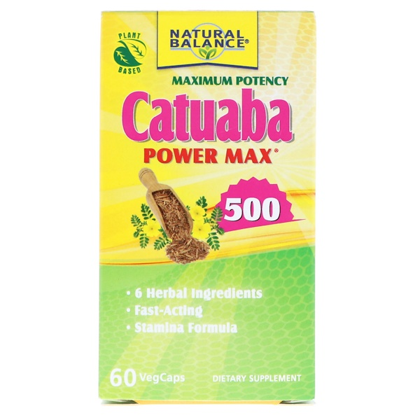 Natural Balance, Catuaba Power Max 500,极大效力,60粒素食胶囊