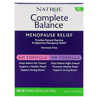 Natrol, Complete Balance for Menopause  Relief AM & PM Formula, Two Bottles 30 Capsules Each