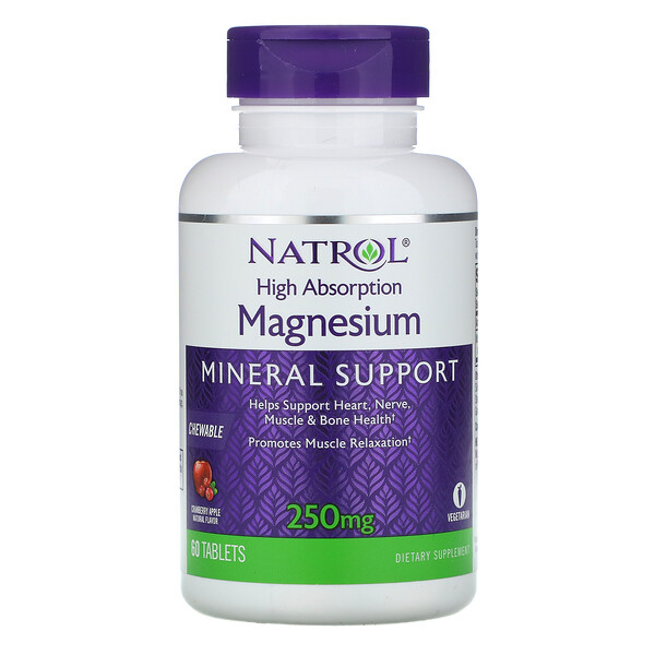 Natrol, High Absorption Magnesium, Cranberry Apple Natural Flavor, 250 mg, 60 Tablets