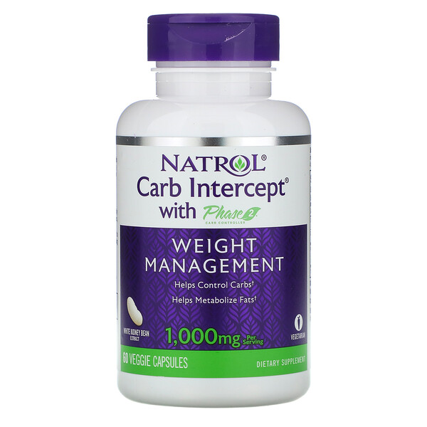 Natrol, Carb Intercept with Phase 2 Carb Controller, 1,000 mg, 60 Veggie Caps