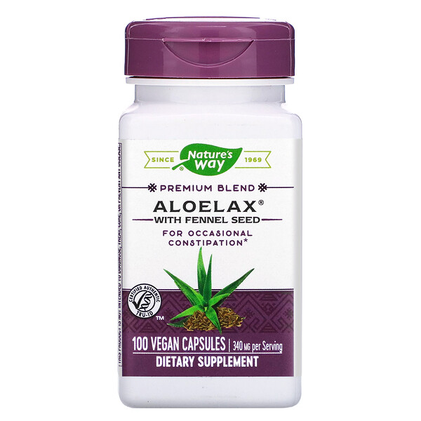 Aloelax with Fennel Seed, 340 mg, 100 Vegan Capsules