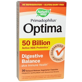 Nature's Way, Primadophilus, Optima, Digestive Balance, 50 Billion, 30 Veggie Caps