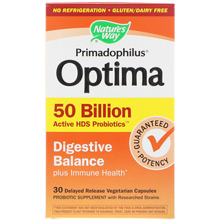 Nature's Way, Primadophilus Optima, Digestive Balance Plus Immune Health, 30 Delayed Release Vegetarian Capsules