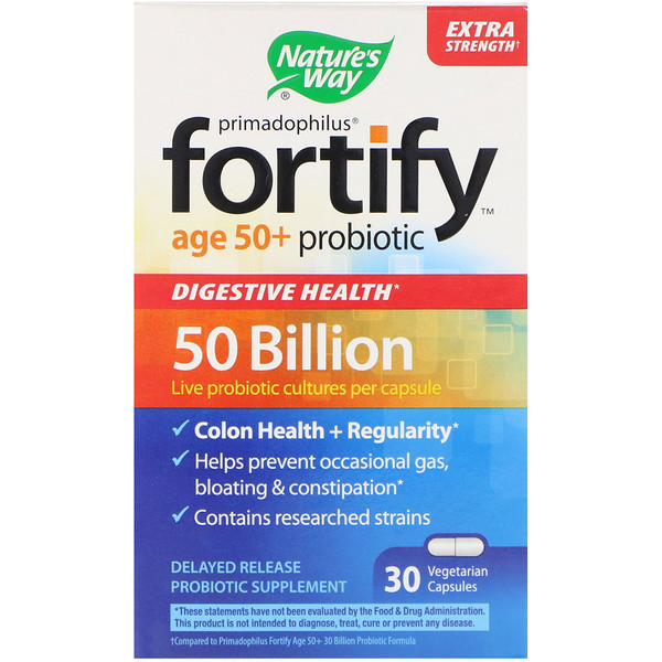 Nature's Way, Primadophilus, Fortify, Age 50+ Probiotic, Extra Strength, 30 Vegetarian Capsules