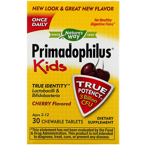 Primadophilus, Kids, Cherry Flavored, 3 Billion CFU, 30 Chewable Tablets