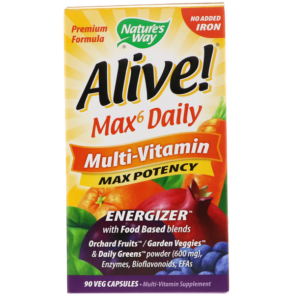 Nature's Way, Alive! Max6 Daily, Multi-Vitamin, No Added Iron, 90 Veg Capsules