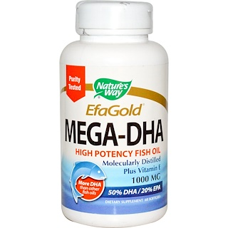 Nature's Way, EfaGold,Mega-DHA,1000毫克,60粒软胶囊