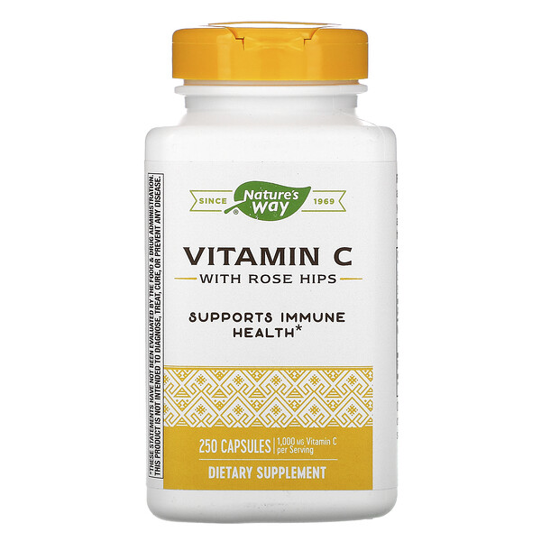 Vitamin C with Rose Hips, 1,000 mg, 250 Capsules
