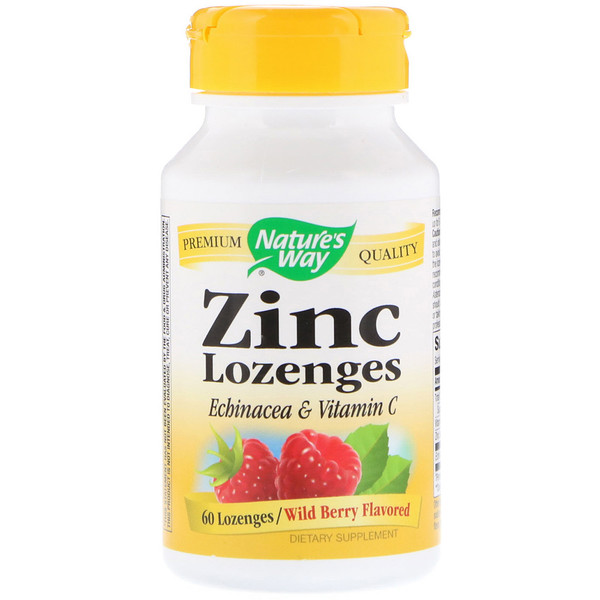 Nature's Way, Zinc Lozenges, Wild Berry Flavored, 60 Lozenges
