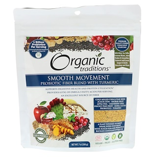 Organic Traditions, Smooth Movement Probiotic Fiber Blend with Turmeric, 7 oz (200 g)
