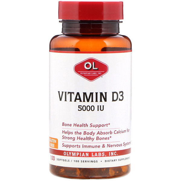 Olympian Labs, Vitamin D3, 5,000 IU, 100 Softgels (Discontinued Item)