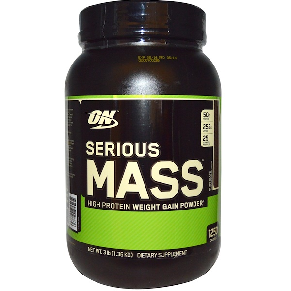 Optimum Nutrition, Serious Mass, Chocolate, 3 lb (1.36 kg) (Discontinued Item)