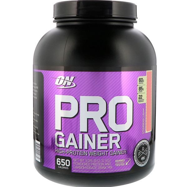 Optimum Nutrition, Pro Gainer,高蛋白增肌粉,草莓奶油,5.09 磅(2.31 千克) (Discontinued Item)