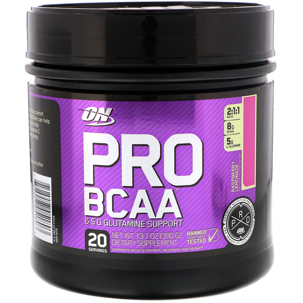 Optimum Nutrition, Pro BCAA, Raspberry Lemonade, 20 servings, 13.7 oz (390g) (Discontinued Item)
