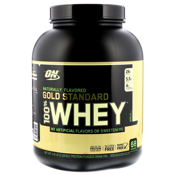 Optimum Nutrition, Gold Standard 100% Whey, Naturally Flavored, Vanilla, 4.8 lbs (2.18 kg)
