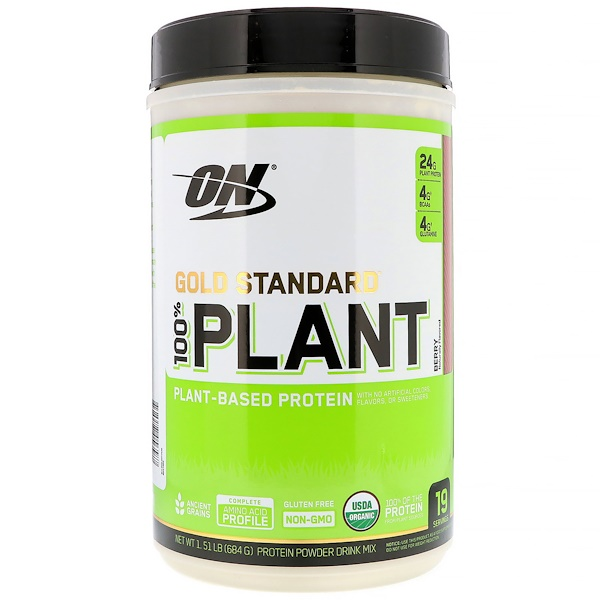 Optimum Nutrition, Gold Standard 100% Plant, Plant-Based Protein, Berry, 1.51 lb (684 g) (Discontinued Item)