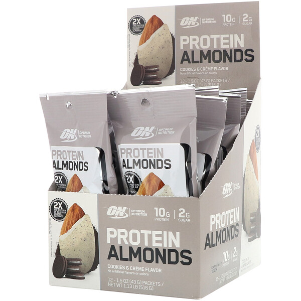 Optimum Nutrition, Protein Almonds, Cookies & Creme, 12 Packets, 1.5 oz (43 g) Each