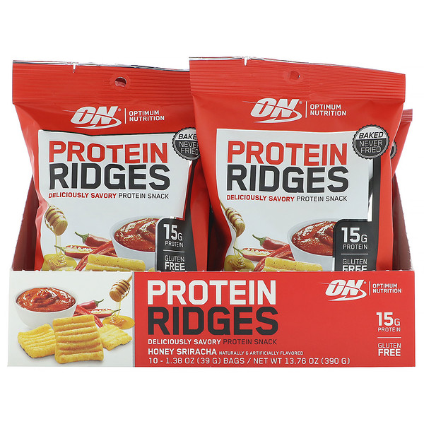 Optimum Nutrition, Protein Ridges, Honey Sriracha, 10 Bags, 1.38 oz (39 g) Each