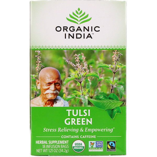 Organic India, Tulsi Green Tea, 18 Infusion Bags, 1.21 oz (34.2 g)